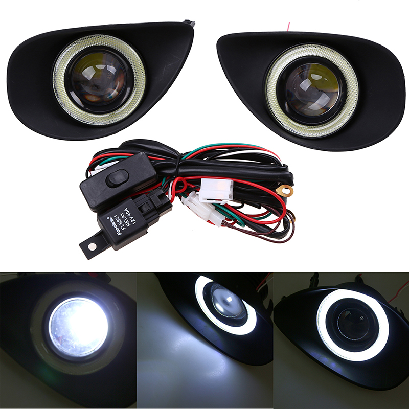 Angel Eyes Fog Light Fit for Toyota Yaris Hatchback NCP9# 2006-2010 Clear Fog Lights Driving Lamps+Wiring Harness Driving Lamps