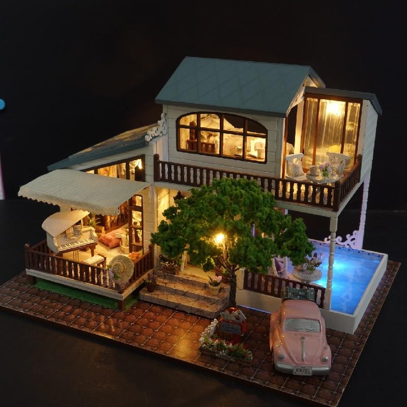 DIY Modelo de Casa de Boneca Casa de Bonecas Em Miniatura com Móveis LED 3D Casa De Madeira Brinquedos Para Crianças Presente Artesanal Artesanato A039 # E
