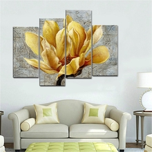Golden Lotus Flowers Wall Art Canvas Print Flower Home Decoration Painting for Living Room Decor 4 Panels Drop Ship