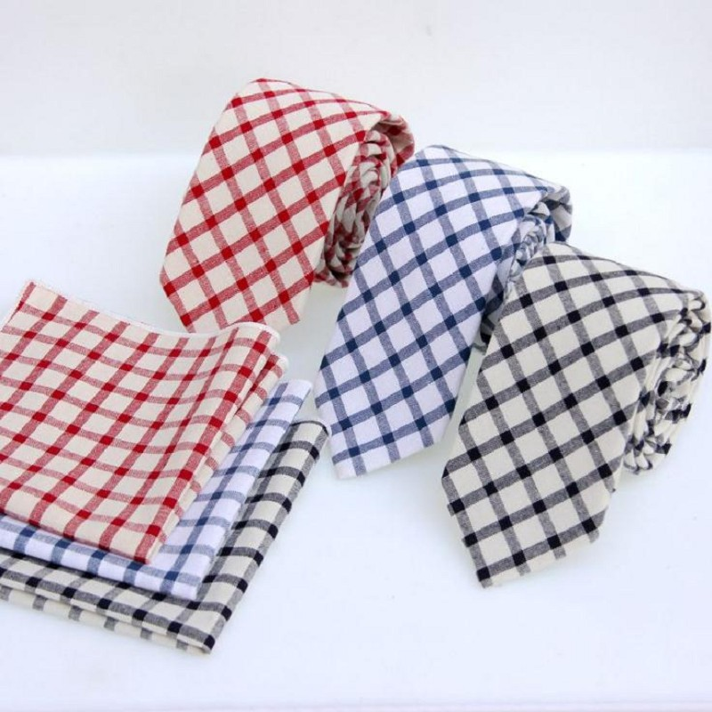 6cm plaid mens necktie cotton handkerchief ties man check tie ascot neckwear business suit shirt accessories for men