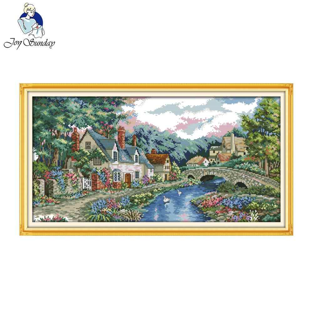 Joy Sunday scenic style The peaceful countryside printable cross stitch patterns needlework kits for home ornament
