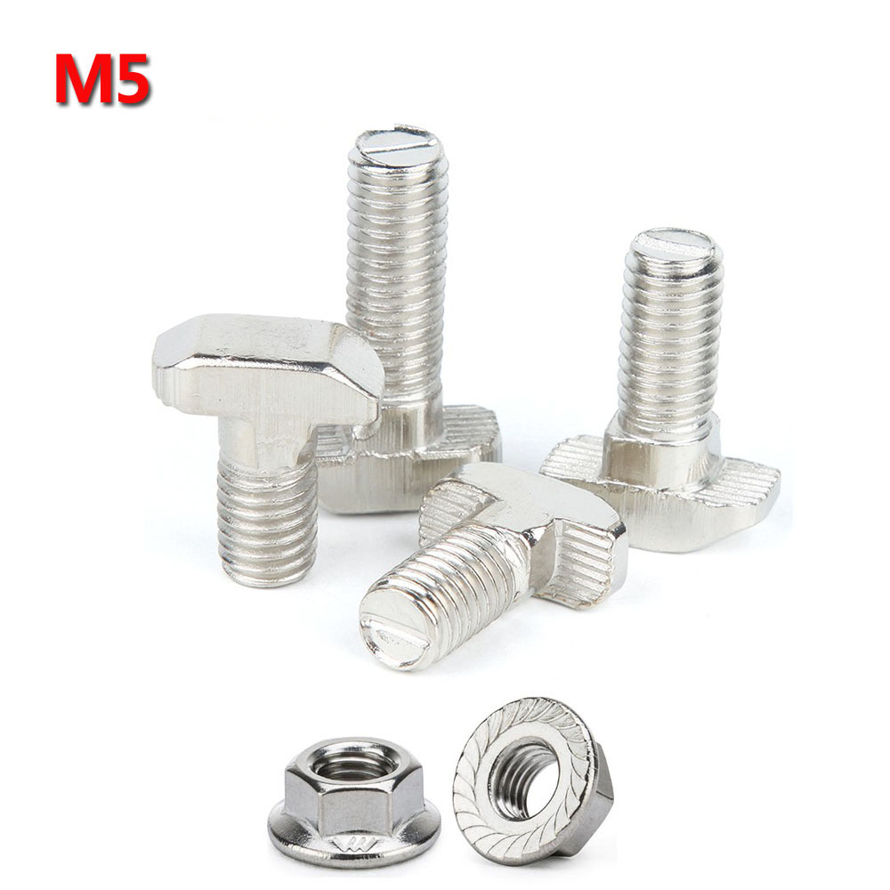 50pcs/lot M5x12 M5x16 M5x20 T Bolt Screws For EU Standard 2020 Linear Rail Aluminum Profile,50pcs M5 Hex Flange Nuts Optional