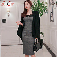 2017 Autumn Women Strapless Lace Grey Vintage Knee Length Vestidos Casual Cape Blazer Coat 2 Piece