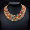 De Design da marca Cor Mix Contas Pequenas Mão Tricô Colar Gargantilha Étnico Moda Colares Collar Falso Para As Mulheres