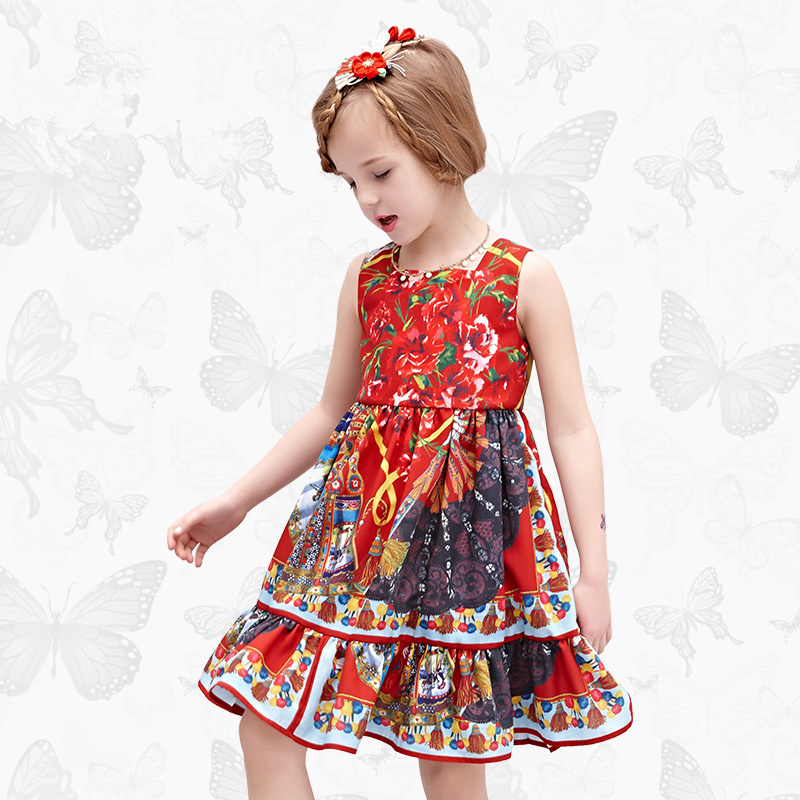 W.L.MONSOON Brand children's clothing girls dress Europe and America floral children pleated princess dress cotton girl dress plus size pleated floral vintage 1950s dress