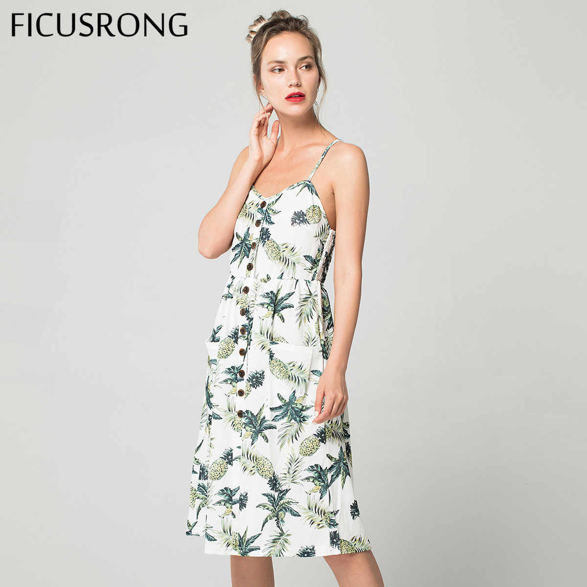 Summer Women Button Decorated Print Dress Off-shoulder Party Beach Sundress Boho Spaghetti Long Dresses Plus Size FICUSRONG