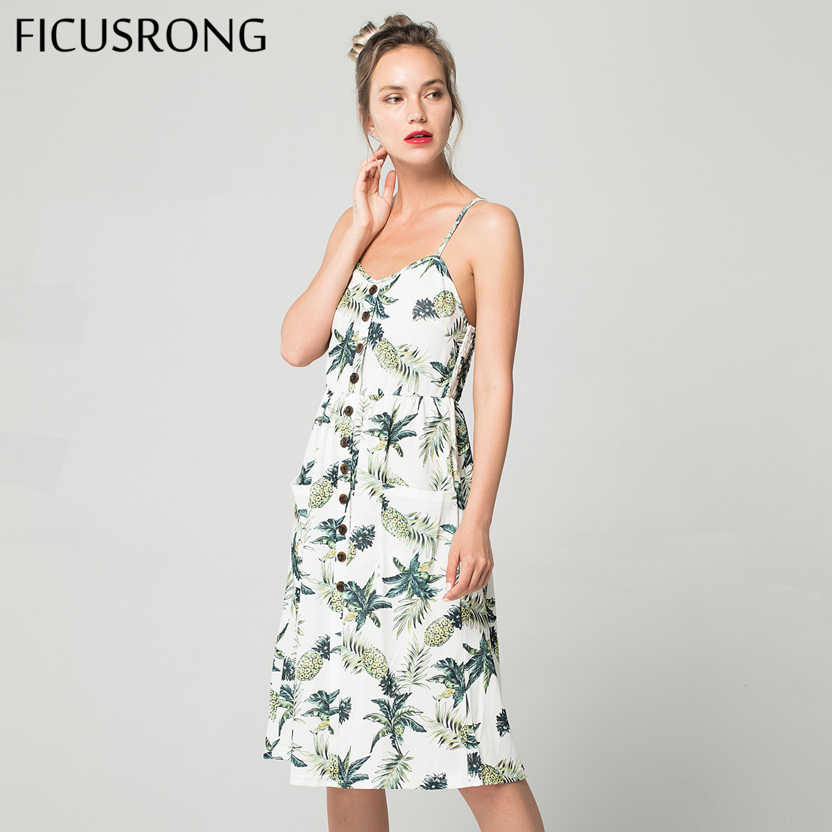 2019 sommer Frauen Knopf Verziert Print Kleid Off-schulter Party Strand Sommerkleid Boho Spaghetti Lange Kleider Plus Größe FICUSRONG