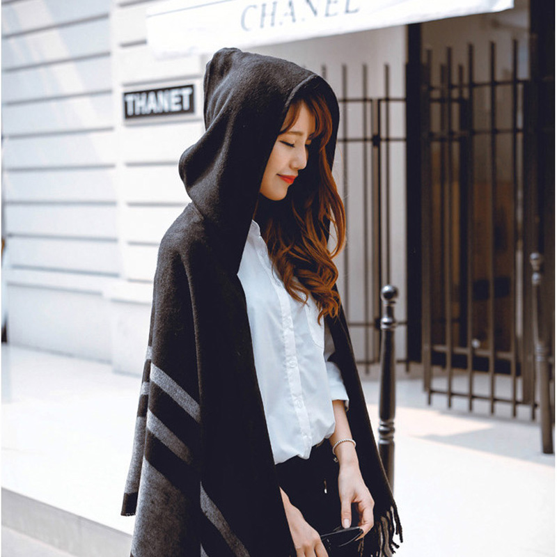 AETRENDS Women s Wool Hooded Poncho with Hat Winter Scarves Black Beige Colors Z 2116
