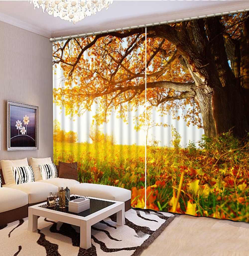 Złoty zasłony jesień kurtyny 3D zasłony salon zasłony do sypialni Cortinas dostosowany rozmiar