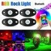 4Pcs New Car RGB LED Rock Light Kit Waterproof IP68 Trail Rig Neon Lights Mini Bluetooth