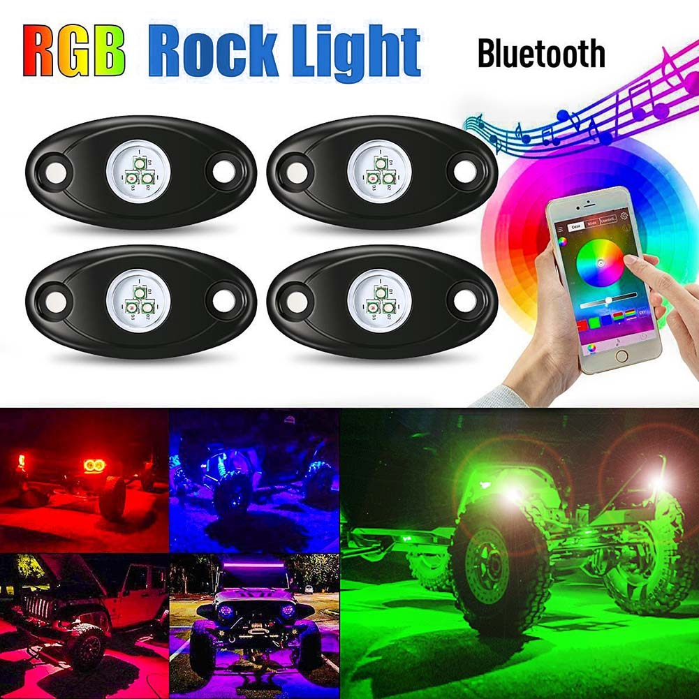 4Pcs New Car RGB LED Rock Light Kit Waterproof IP68 Trail Rig Neon Lights Mini Bluetooth Control for Car SUV Boat DXY88 new fuel pump assy m2n159h307aa for ford ecosport 2 0l 0580314006