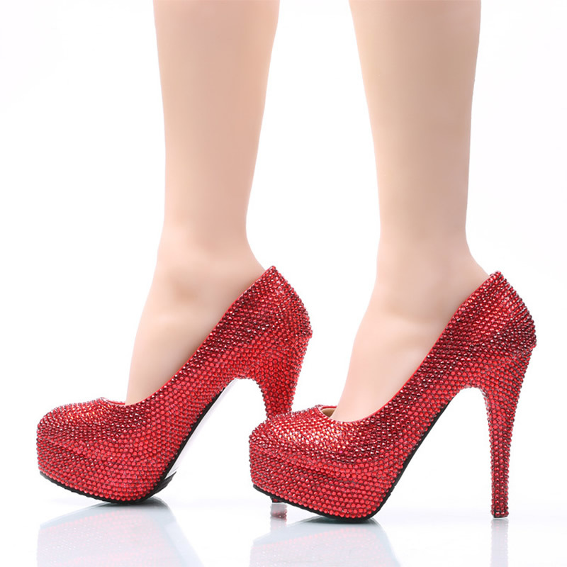 Summer Women Wedding Party Red Rhinestone Shoes Bride Sexy Elegant Red  Bottom High Heels Platform Pumps-in Women s Pumps from Shoes on  Aliexpress.com ... 8f44123d46e8