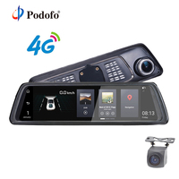 Podofo V9 4G Android Car DVR Mirror Video 10 Full Touch IPS GPS FHD 1080P Dual