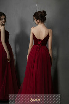 Simple Long Prom Dresses 2019 Deep V-Neck A-Line Formal Party Gowns Burgundy Evening Dress vestidos largos de robe de soiree 4