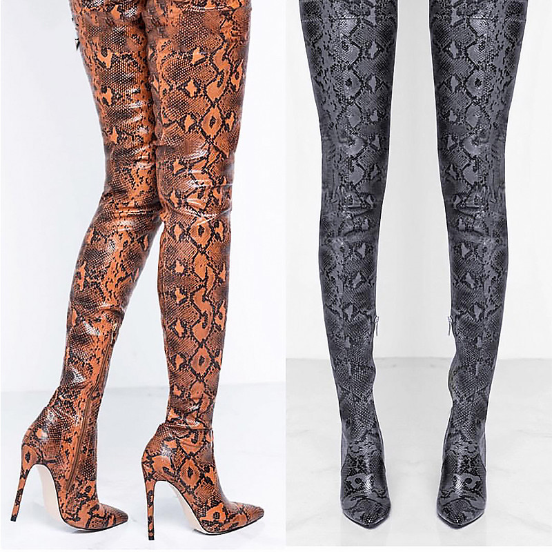 Prova perfetto Thigh High Over the Knee Boots Women Shoes Snakeskin Pointed Toe Super Thin High Heels Long Boots Bottine FemmeProva perfetto Thigh High Over the Knee Boots Women Shoes Snakeskin Pointed Toe Super Thin High Heels Long Boots Bottine Femme
