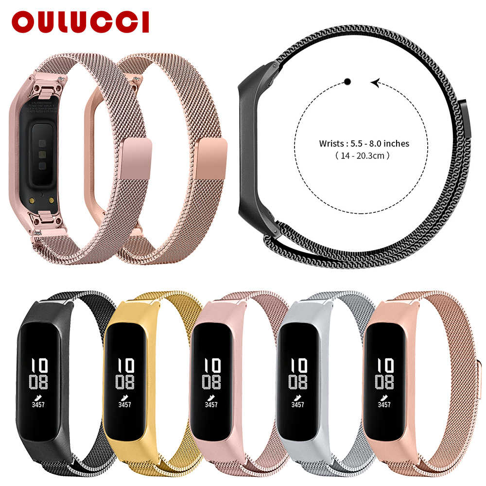 Oulucci mode breedte mesh loop band voor samsung fit-e horloge band metalen polsband samsung galaxy watch voor samsung SM-R375