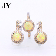 JY Luxury Yellow Color Fire Opal Jewelry Sets Double Color Earrings&Rings Best Gift Woman Love Brincos For Party Anniversary