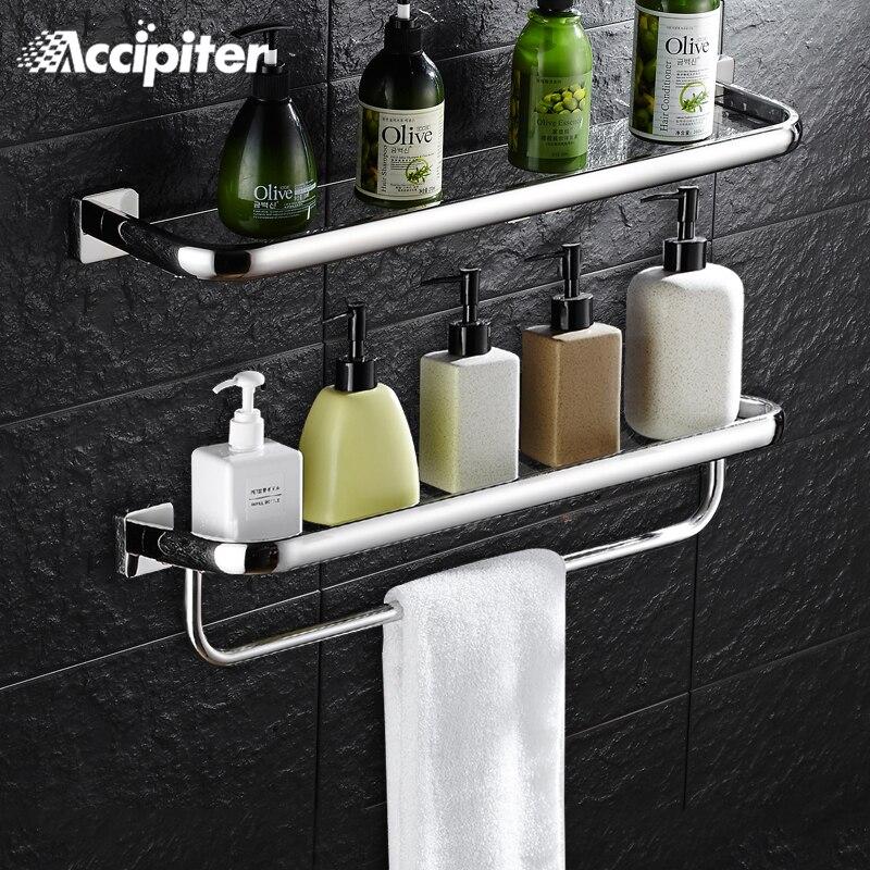 Wall Mounted Bathroom Accessories 30CM Glass Shelf Bathroom Shelves Single Tier Bath Shelf Toilet Glass Shelf