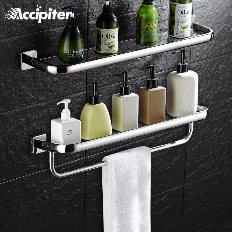 Wall Mounted Bathroom Accessories 30CM Glass Shelf Bathroom Shelves ...
