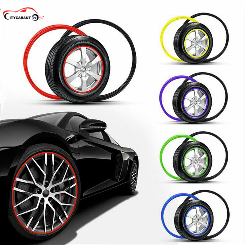 FREE SHIPPING About 8m For Car Wheel Hub Rim Edge Protector Ring Tire Guard Sticker Line Rubber Strip