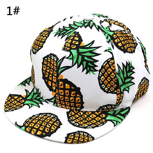 New Arrival Unisex Pineapple Print Snapback   Baseball     Cap   Adjustable Wide Brim Hip-hop Hat