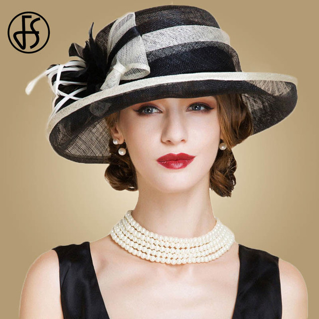 5882c94334dad FS Black And White Ladies Church Sinamay Hats For Women Linen Fedora Wedding  Fascinators Wide Brim Bow Floral Kentucky Derby Hat