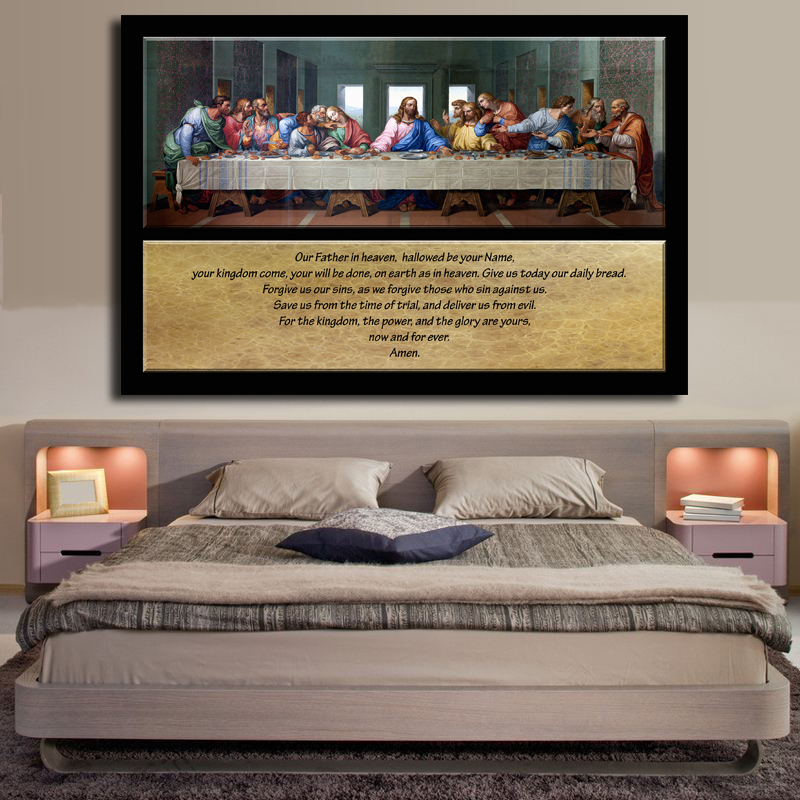 Leonardo Da Vinci Large Classic Oil Painting Famous Painting The Last Supper With Words Canvas Painting For Living Room Cuadros image