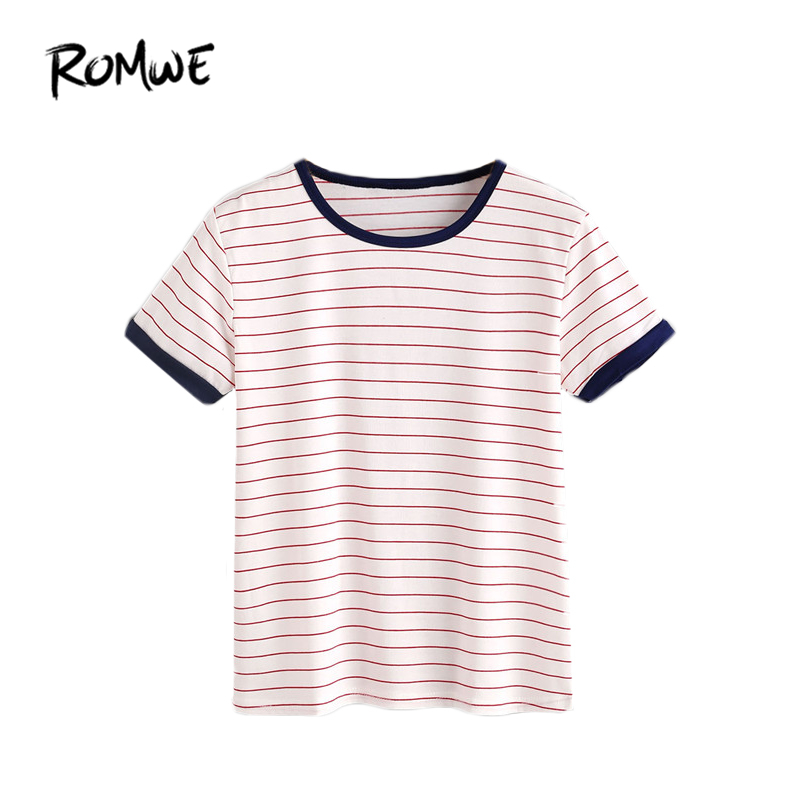 ROMWE T shirts Women 2018 Summer Casual Women T shirt Top Ladies Short Sleeve Round Neck Striped Ringer Tee Shirt striped print ringer t shirt