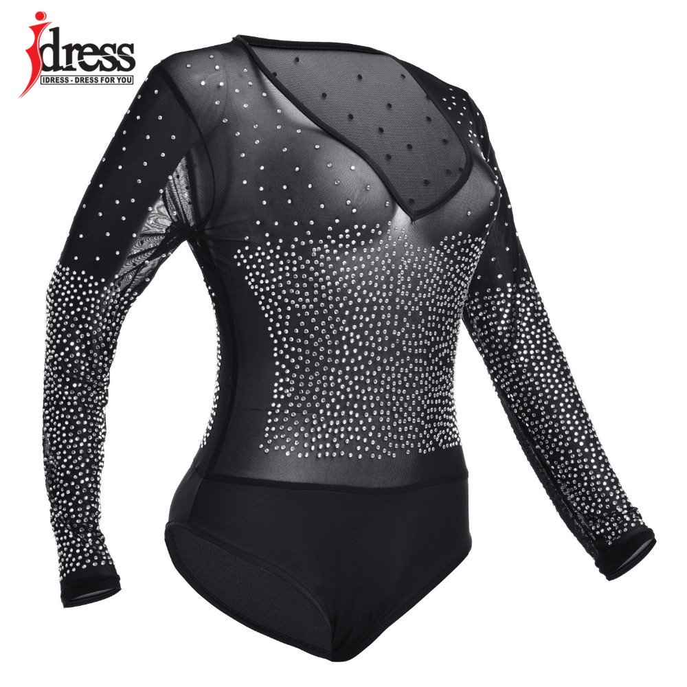 Black Mesh Rhinestone Sexy Bodysuits Long Sleeve Autumn Sheer Club Bodycon Overalls See Through Rompers Womens Jumpsuit (9)