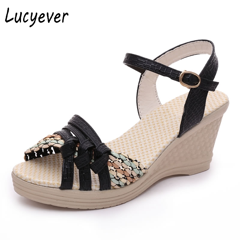 Lucyever Summer Women Concise Open toe PU Leather Casual Sandals Woman Fashion Platform Wedges Weaving Buckle Sandals woman sandals 2018 summer women concise bling open toe casual shoes woman fashion thick bottom wedges sandals