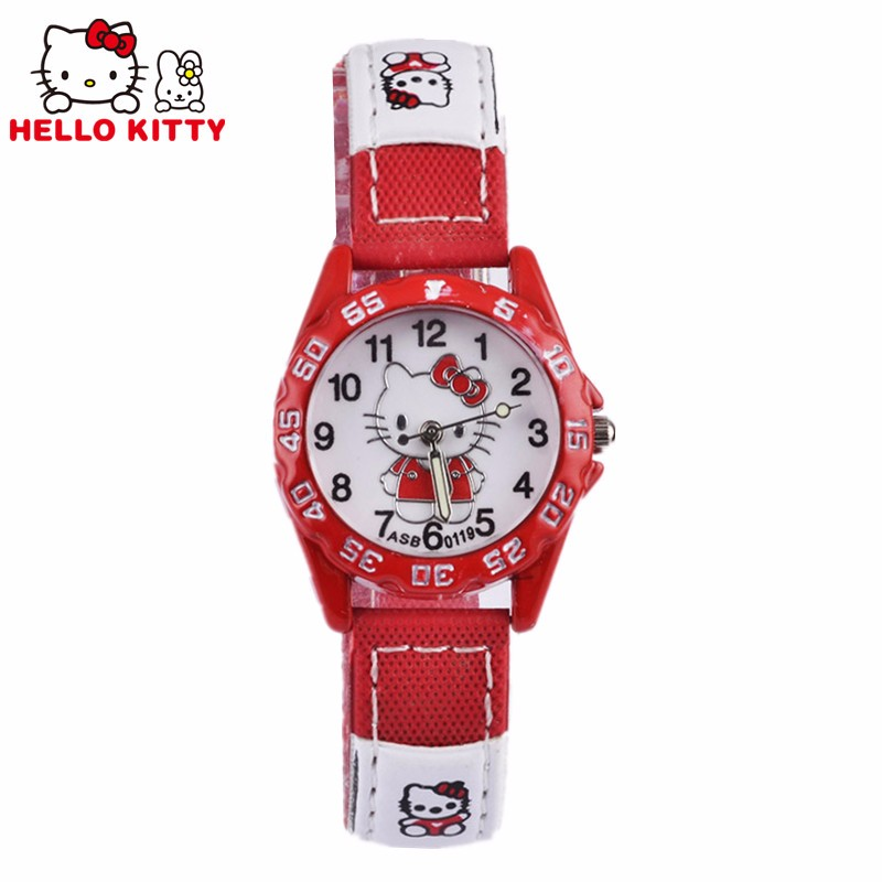 Children Hello Kitty Watch Quartz Wristwatch 2017 Pink&red&rose Red Hellokitty Clock 3 Colors Leather Strap Montre Enfant