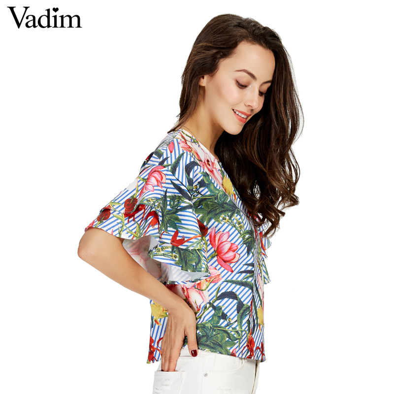 HTB1j9y.SXXXXXcJXXXXq6xXFXXX2 - Women sweet ruffles loose floral shirts short sleeve