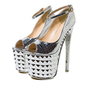 2017 Silver Sexy Peep Toe 19cm Extreme High Heels Brand Women Pumps Ladies Platform Shoes Woman Chaussure Femme Zapatos Mujer