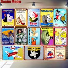 Esso Castrol Vintage Metal Tin Signs Motor Oil Tire Sales Service Posters Bar Pub Garage Decor Retro Wall Art Plaque MN131