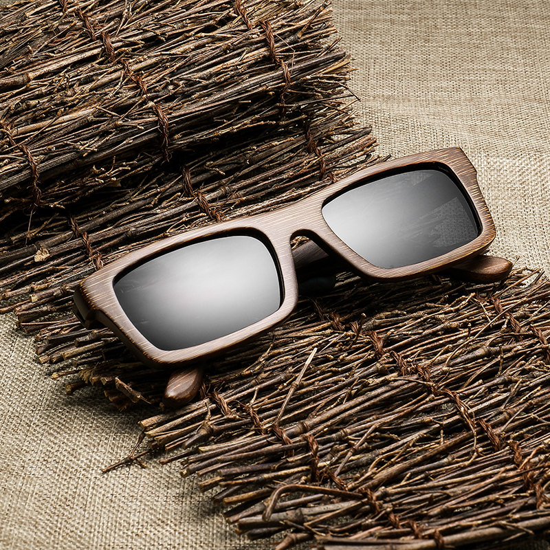 Quantidade de Madeira de Bambu Óculos de Sol para Homens Alta Clássico Marca Designer Polarizado Uv400 Eyewear