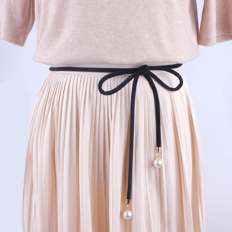 Solid Fashion Women Tassel Knot Belt Vintage Pearl Waist Rope Fringed Waistband Girdle For Dress Female Thin Srting Femee Black
