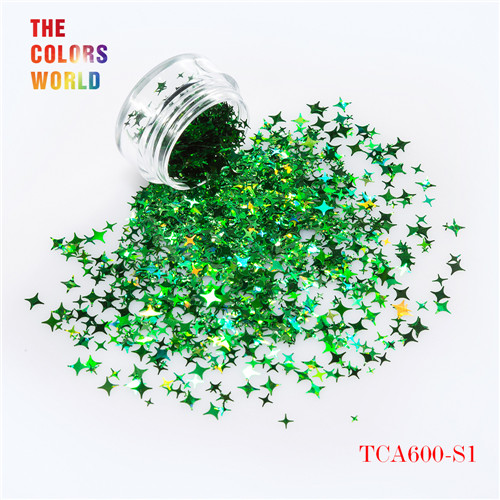 TCT-132, 12 цветов, четыре угла, форма звезд, блестки для ногтей, блестки для украшения ногтей, макияж, боди-арт, сделай сам - Цвет: TCA600-S1   200g