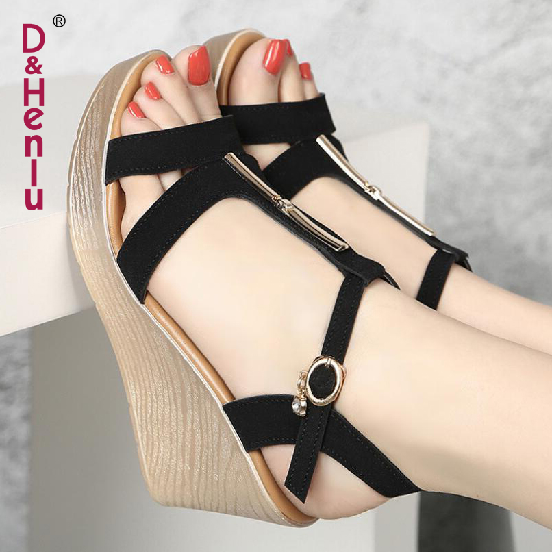 5589ac21b442 D Henlu Plus Size13 Women Shoes High Heel Wedge Open Toe Sandals Platform  Summer Gladiator Sandal Heels