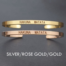 Hakuna Matata Inspirational Quote Stainless Steel Engraved Bracelet  Ancient African Proverb Adjustable Bangle