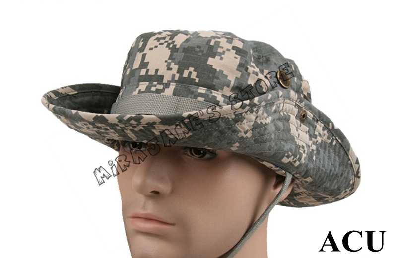 Military CamouflageAirsoft Bucket Boonie Cap Outdoor Hiking Fishing Camping  Mountaineering Cap Tactical Ripstop Army Boonie Hat 24edf0cf1c0