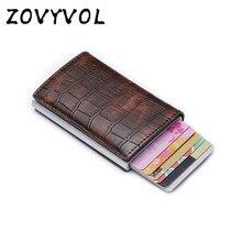 Zovyvol rfid bloqueio titular do cartão de crédito couro do plutônio unisex carteira de cartão de identificação de negócios de alumínio nova chegada