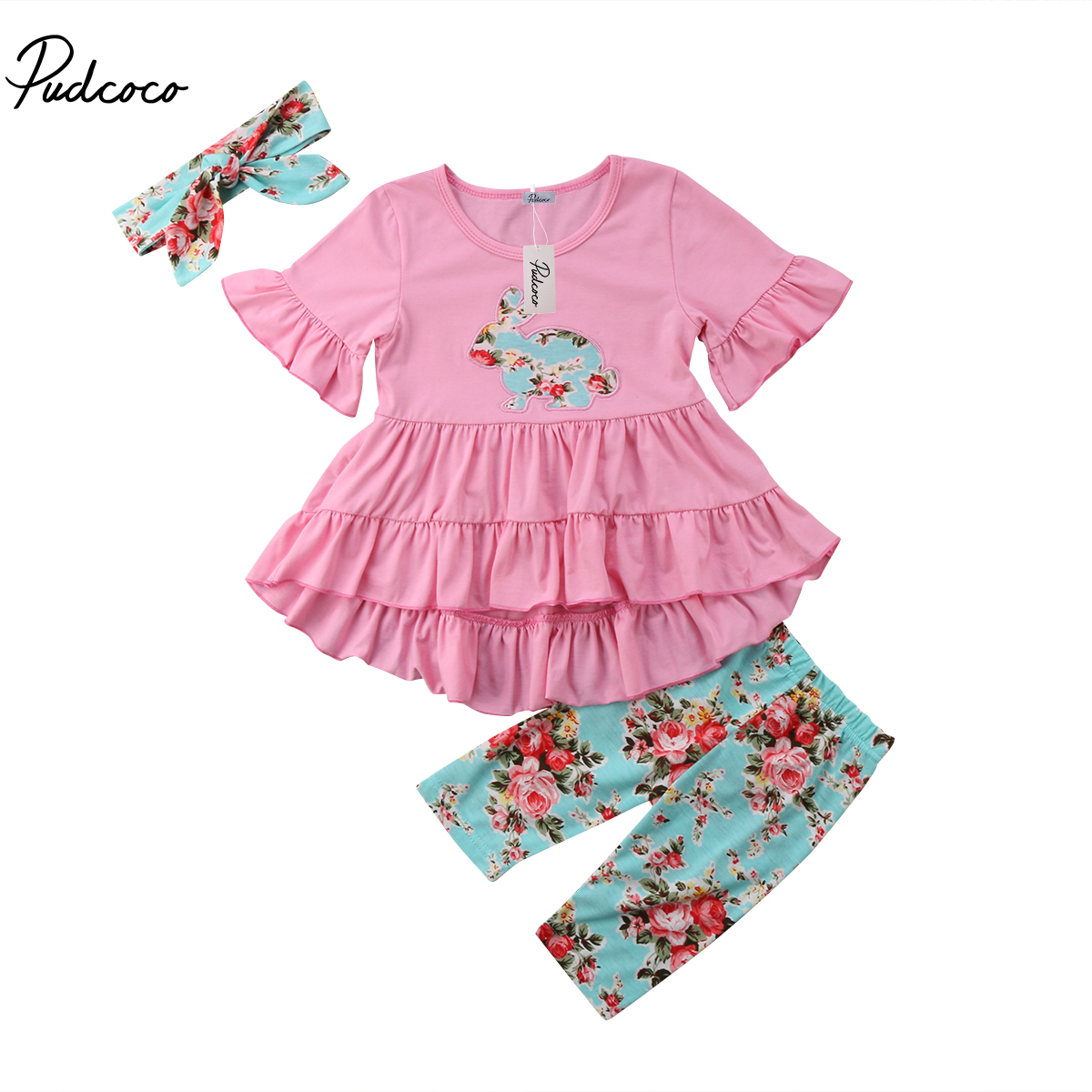 2018 Brand New Toddler Infant Child Kid Baby Girl Easter Top Dress Pants Leggings Outfits Headband 3Pcs Set Ruffled Clothes 2-7T
