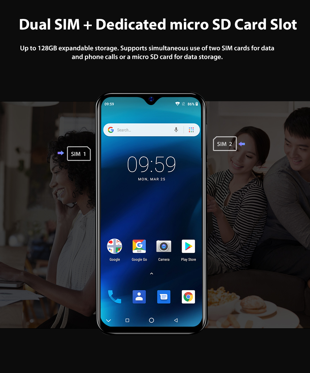 HTB1j9yTN6TpK1RjSZKPq6y3UpXau Blackview A60 Smartphone Quad Core Android 8.1 4080mAh Cellphone 1GB+16GB 6.1 inch 19.2:9 Screen Dual Camera 3G Mobile Phone