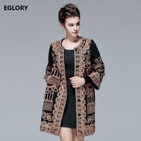 New 2017 Winter Plus Size Coat Outerwear Women Allover Luxury Embroidery Covered Button Thick Wool Blends Overcoats Jackets 3XL