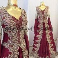 Burgundy Arabic Beaded Evening Dresses With Long Sleeves V Neck A Line Prom Gowns Vestidos Festa Kaftan Appliqued Formal Dress