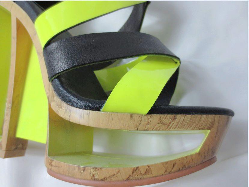 Sandalias Zapatos 1 Plataforma Etapa color 2 Mezclados Contraste Fretwork Extraño Chunky Tiras Sexy Color Pasarela Tacones Cruzadas Colores 0RZxFnO
