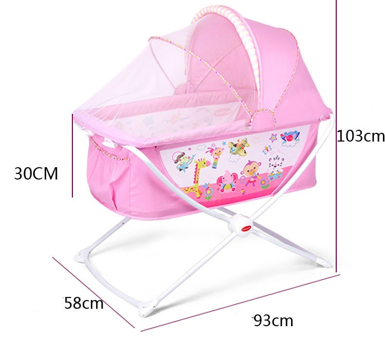 Folding Cradle Bed Queen Size Bed Portable Childrens Shaker Cradle Crib Color : Gray, Size : Without Travel Bag