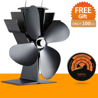 220CFM 17 Fuel Costing Saving Heat Powered Stove Fan Aluminum Black Eco Stove Fan
