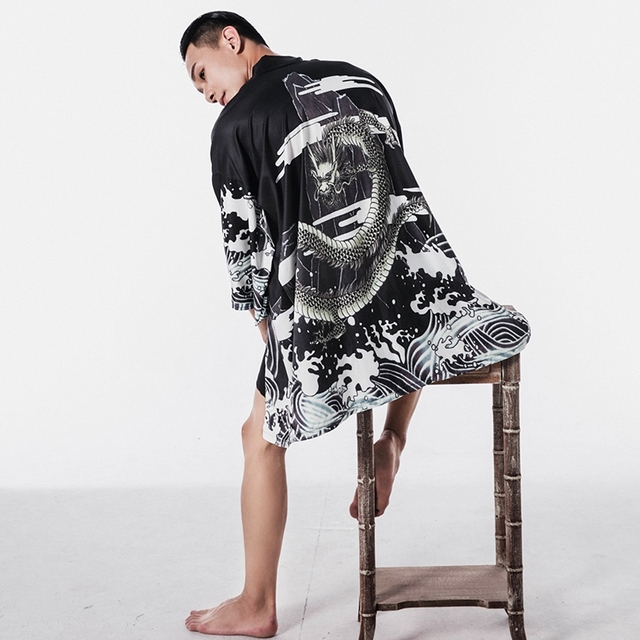 Мужская гавайская рубашка, японское кимоно, кардиган, Харадзюку, Японская уличная одежда, Классная блузка, рубашка, KK001