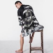 ブラウス男性アロハシャツ男性日本の着物カーディガン原宿日本ストリート服クールブラウス男性シャツ KK001